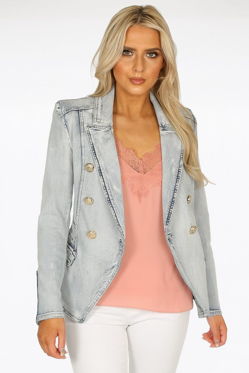 new product df406 ebb43 Donna Denim Blazer in Light Blue