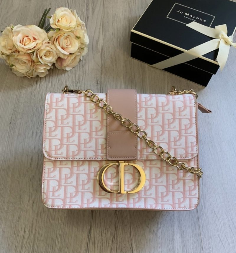 dior pink embroidered canvas front
